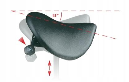 Regulacja kąta nachylenia siedziska w krześle ergonomicznym Ergo-Lifestool od Dr Sapporo