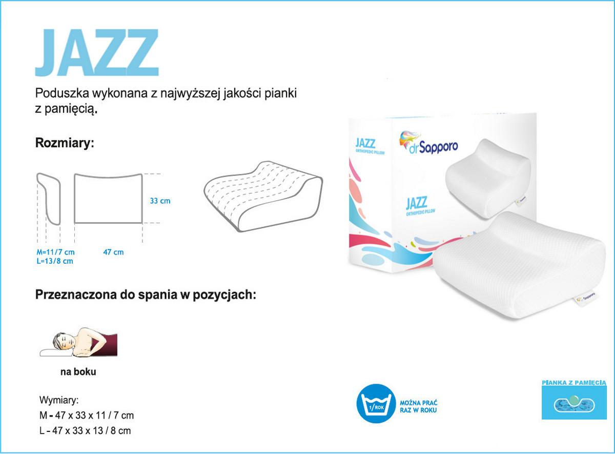 Wymiary, pozycje spania, poduszka JAZZ Memory od Dr Sapporo