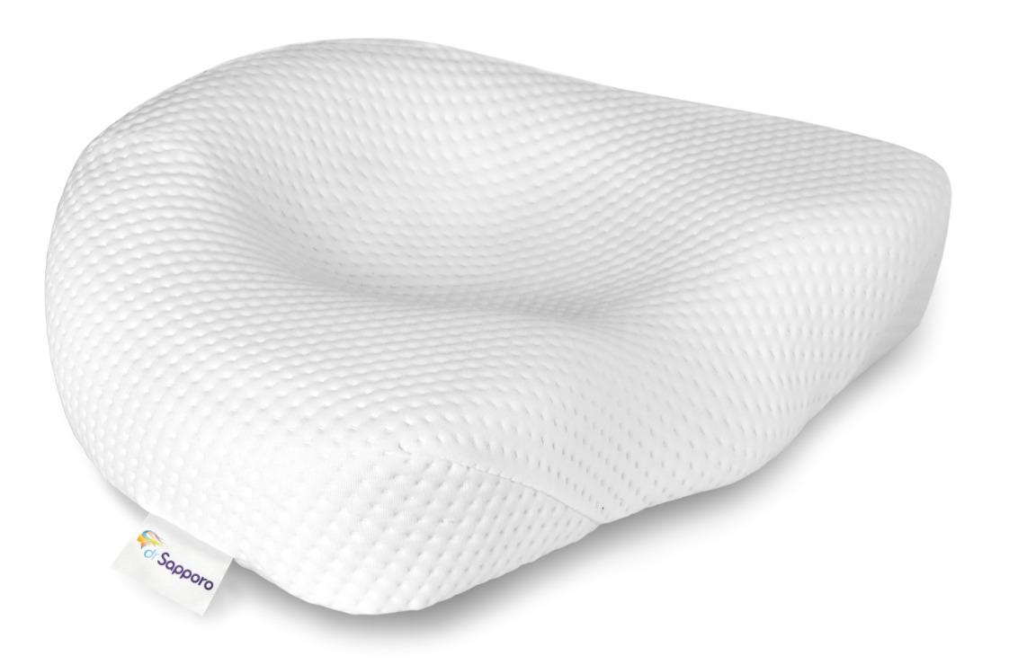 Poduszka do spania na boku i na plecach zaprojektowana aby zapobiegać spłycania lordozy szyjnej