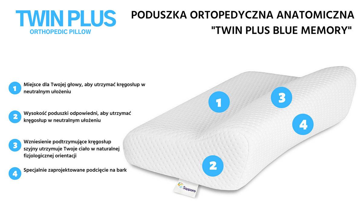 Poduszka ortopedyczna do spania na boku Twin Plus od dr Sapporo