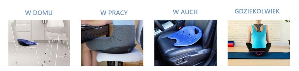 Na zdjęciu korektor kręgosłupa BackJoy oraz poprawna pozycja siedzenia. Zadbaj o swój kręgosłup!