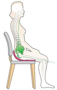 Fotografia przedstawia właściwą pozycję podczas siedzenia na krześle. Dzięki korektorowi BackJoy uzyskujemy właściwe napięcie miednicy oraz prawidłowo ustawione plecy