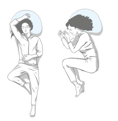 Ikona pokazuje pozycje spania na plecach i na boku