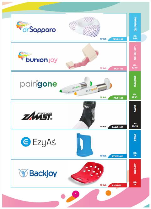 Spis treści katalogu produktów Dr Sapporo