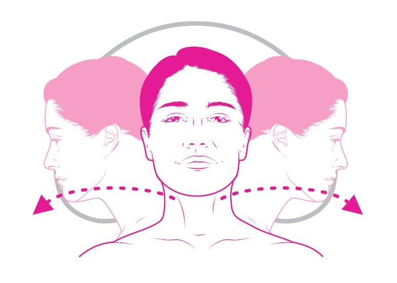 Ćwiczenie rozciągające mięśnie szyjne. Obracamy głowę w lewo a następnie w prawo