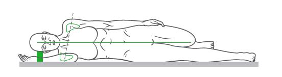 Ułożenie naszego ciała podczas snu w pozycji na boku. Pozycja głowy w przedłużeniu kręgosłupa.