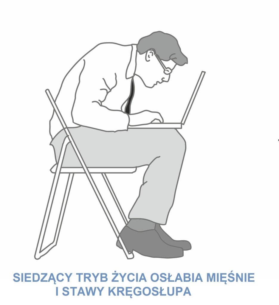 Wizerunek siedzacego zgarbionego mezczyzny przy komputerze szukajacego laptopa i poduszek ortopedycznych w internecie